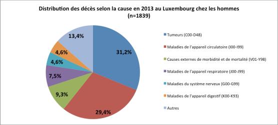 Distribution des décès chez les hommes en 2013